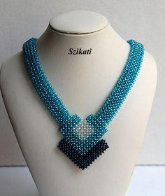 FREE SHIPPING Elegant Teal Seed Bead Bib Necklace Art by Szikati