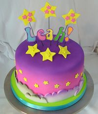 Lisa Frank cake with stars and clouds in purple and pink. Wow this one has my name on it! ;)