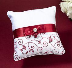 Red & White Ring Pillow | Red Ring Bearer Pillow | Red Ring Pillow