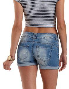 Medium Wash Push-Up Denim Shorts: Charlotte Russe #shorts