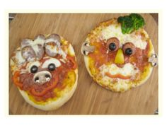 Have fun playing with your food! Make a funny face pizza!