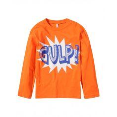 T-shirt maniche lunghe, in cotone colorato, scollo rotondo con finitura in costina e stampa frontale.3096C1135 ORANGE