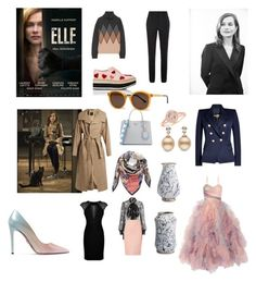 """Movie inspiration Elle (2016)"" by malinandersson on Polyvore featuring Y's by Yohji Yamamoto, Prada, Missoni, Victoria Beckham, Marchesa, Hervé Léger, Balmain, Alexander McQueen, Thierry Lasry and ThePerfext"