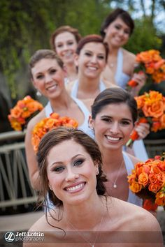 Bride & Bridesmaids. maybe two lines of girls with me in between