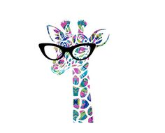 Adorable Giraffe with glasses decal! Perfect for a Yeti, RTIC, car window, or laptop!