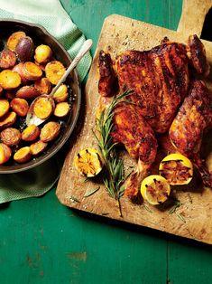 Chicken Recipes_Top-Shelf Chicken Under a Brick Chicken Flavors, Easy Chicken Recipes, Easy Recipes, Summer Recipes, Easy Meals, 5 Ingredient Chicken Recipe, Grilling Recipes, Cooking Recipes, Skillet Recipes