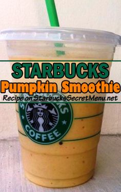 Treat yourself to a hearty Starbucks Pumpkin Smoothie! #StarbucksSecretMenu Starbucks Hacks, Starbucks Secret Menu Drinks, Starbucks Pumpkin, Starbucks Frappuccino, Starbucks Recipes, Starbucks Refreshers, Blended Coffee Drinks, Homemade Iced Coffee, Frappuccino Recipe