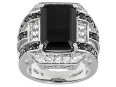 8.08ctw Emerald Cut And Round Black Spinel With .64ctw Round White Topaz Sterling Silver Ring