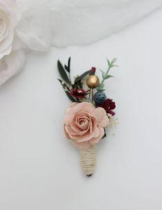 5eb6fe402d805 Burgundy peach navy gold boutonniere Wedding accessories Men s boutonniere  Groom Groomsmen buttonho