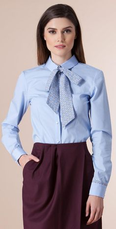 Formal Work Outfit With Blue Blouse Bow And Skirt