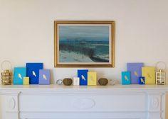 BIRDS Lavender & Gold PAINTING Handmade by ThreeColumnsStudio