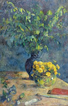 """Two Vases of Flowers and a Fan"" by Paul Gauguin, French Post-Impressionist artist, Paul Gauguin, Henri Matisse, Arte Van Gogh, Impressionist Artists, Tahiti, Beautiful Paintings, Love Art, Modern Art, Art Photography"