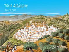 Torre Alháquine en dibujo, Sierra de Cádiz, Andalucía.