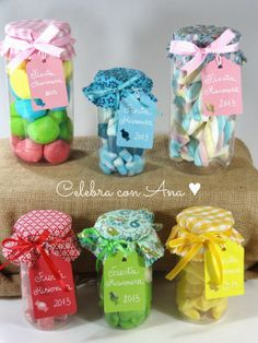 Botes de chuches con tela Baby Food Jars, Shabby Chic Crafts, Vintage Cookies, Mini Bottles, Girl First Birthday, Candy Jars, Teacher Gifts, Projects To Try, Baby Shower