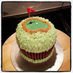 Golf themed giant cupcake