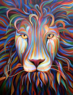 Red Lion, Oil on Canvas, x 2007 by Kate Hoyer Dog Paintings, Paintings I Love, Art And Illustration, Lion Spirit Animal, Colorful Animal Paintings, Rainbow Lion, Dog Pop Art, Lion Art, Jackson