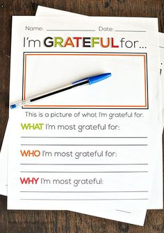 I'm grateful for.... Thanksgiving printable. Print out and use for Thanksgiving or for every day!