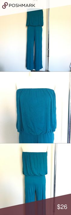 Strapless Turquoise Romper Jumpsuit Stretch rayon romper with flow-y waist. Super cute with flats or dress it up with heels. Triumph Pants Jumpsuits & Rompers