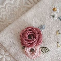 Woven roses embroidery.