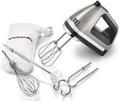 KitchenAid KHM920A 9-Speed Hand Mixer- With (Free Dough hooks, whisk, milk shake liquid blender rod attachment and accessory bag) : Amazon.c...