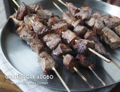 Grilled pork adobo is delicious meat on a stick!