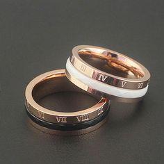 Розовый позолоченные белый/черный керамические кольца для женщин anillos, мода роман письмо поворотный кольца bague ювелирные изделия из нержавеющей стали купить на AliExpress