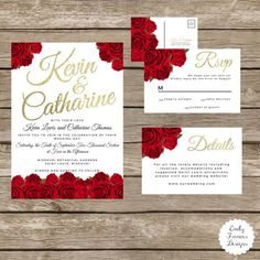 Custom 5x7 Red Roses & Gold Wedding Invitation - Red Roses - Gold Font Accent - RSVP and Details Card - Elegant Wedding Theme