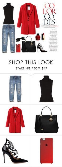LET RED RULE by gabriellef-1 on Polyvore featuring Michael Kors, Hollister Co., Gianvito Rossi, MICHAEL Michael Kors, Ray-Ban and Satine