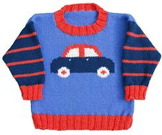 Knitting Patterns Boy Car Pullover pattern by Gail Pfeifle, Roo Designs Baby Boy Sweater, Knit Baby Sweaters, Toddler Sweater, Knitted Baby Clothes, Baby Boy Knitting Patterns, Baby Sweater Knitting Pattern, Knitting For Kids, Baby Patterns, Sweater Design