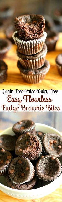 Simple flourless fudge brownie bites with 6 ingredients! A quick paleo dessert or snack for a healthy chocolate fix! Gluten free, grain free, dairy free, soy free.