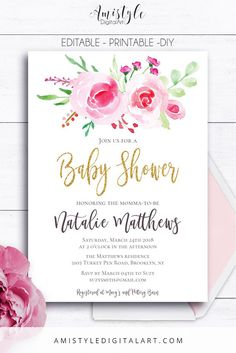 Floral Baby Shower Invitation card - with a watercolor rose bouquet and gold lettering by Amistyle Digital Art on Etsy