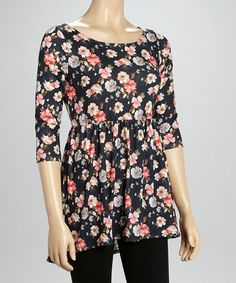 Another great find on #zulily! Black & Red Floral Tunic by about a girl #zulilyfinds  $9