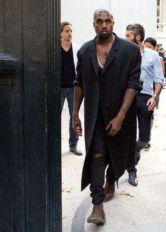 9/26/14 - Kanye West at the Maison Martin Margiela S/S 2015 Fashion Show in Paris.