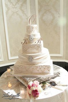 Wonderful use of a triple monogram cake topper! #wedding To replicate this look order at dazzlemeelegant.com
