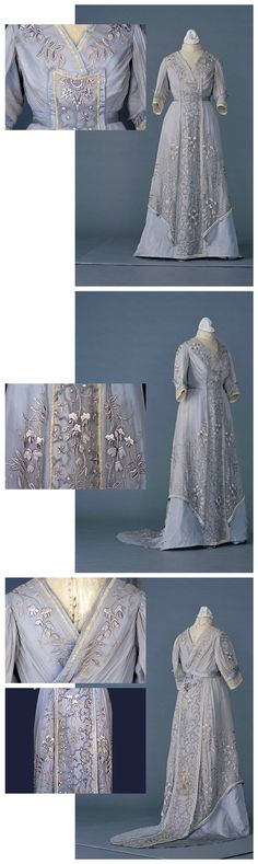 Dress (robe montante) belonging to Empress Shoken, made in France, Meiji era Collection of Sugino Costume Museum. 1900s Fashion, Edwardian Fashion, Royal Fashion, Urban Fashion, Vintage Fashion, Historical Costume, Historical Clothing, Belle Epoque, Vintage Gowns