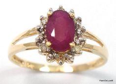 Catawiki Online-Auktionshaus: Goldring, besetzt mit 1 Rubin von 0,5 ct aus Sri Lanka und 6 Diamanten von 0,38 ct