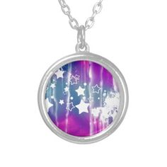 Girly Blue Purple Abstract Star Pendant
