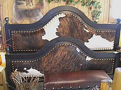 images of cowhide headboard | Wood and Cowhide Beds