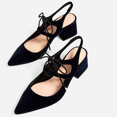 LACE - UP SLINGBACK HIGH HEEL SHOES-NEW IN-TRF | ZARA Switzerland (1,455 DOP) ❤ liked on Polyvore featuring shoes, laced shoes, slingback shoes, high heel slingbacks, high heeled footwear and high heel slingback shoes