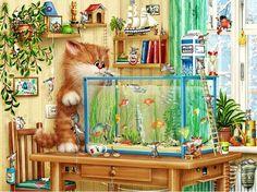 Mosaic Full Diamond home Decorative Wall stickers Hand made cartoon cat cross…
