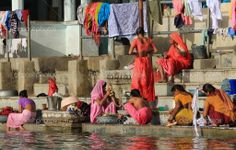 clotheslines in india | Washing clothes in River in North India