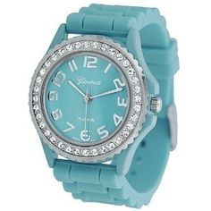 Teal Ceramic Style Silicone Gel Band Crystal Bezel Women's Watch Rubber Watches, Stylish Watches, Silicone Gel, Watch Sale, Tiffany Blue, T 4, Quartz Watch, Fashion Watches, Crystal Rhinestone