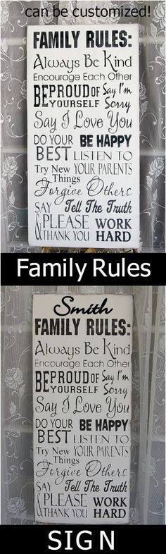 "Hand made Family Rules sign, 11.25"" x 24"" solid pine, can be customized with your family name. $44.75 + shipping."