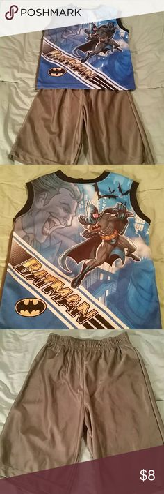 Batman PJs Batman sleeveless PJs with grey shorts both in great condition only worn a couple of times no holes stains rips or tears Pajamas Pajama Sets