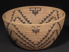A Washo basket  Designed with a concentric four-petal rosette, abstract butterfly or moth motifs at the rim.  height 7in, diameter 12 1/2in