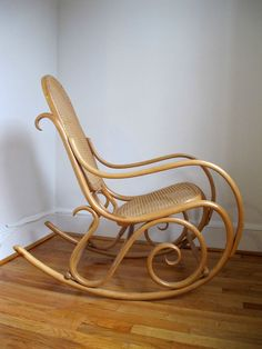 got one exactly like this as a gift from my husband when expecting our first baby in 1984...THONET Rocking Chair Rocker vintage bentwood cane birch beechwood #ArtNouveau #THONET