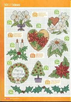 Christmas floral motifs part 4 free cross stitch pattern
