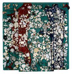 "Julian Schnabel. Divan, 1979 oil, plates, bondo on wood, 96"" x 96"" x 12"""