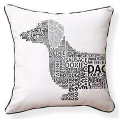 Dachshund Typography Pillow