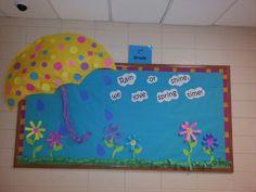 Spring Bulletin Board-I like the umbrella